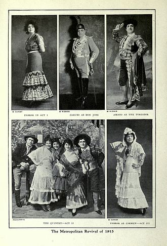Publicity shots for the Carmen revival at the Metropolitan Opera, New York, in January 1915, with Enrico Caruso and Geraldine Farrar. Caruso is centre in the upper row, Farrar top left and bottom right. Carmen at the Met1915.jpg
