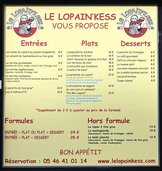 Menus Et Carte Restaurant Le Boutentrain La Rochelle