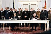 Leonid Brezhnev and Jimmy Carter sign SALT II treaty, June 18, 1979, in Vienna.