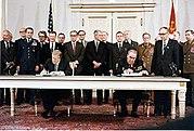 Leonid Brezhnev and Jimmy Carter sign SALT II treaty, June 18, 1979, in Vienna.