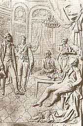Engraving of a meeting between Castelli and Cisneros