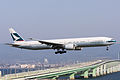 Cathay Pacific Airways, CX568, Boeing 777-367(ER), B-KQD, Arrived from Hong Kong, Kansai Airport (16565583874).jpg