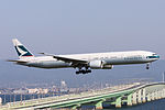 Cathay Pacific Airways, CX568, Boeing 777-367(ER), B-KQD, Arrived from Hong Kong, Kansai Airport (16565583874).jpg