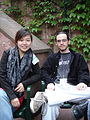 Cathy Ma and Austin Hair in the courtyard at Wikimania 2005.jpg