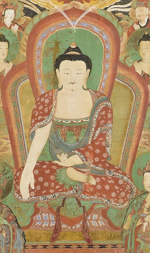 Center detail, Buddha Seokgamoni (Shakyamuni) Preaching to the Assembly on Vulture Peak LACMA AC1998.268.1 (1 of 11) (cropped)