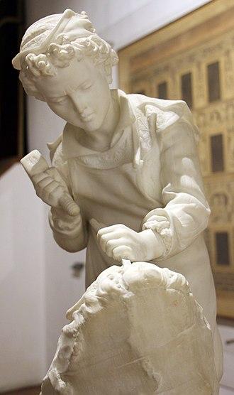 Head of a Faun - Image: Cesare zocchi, michelangelo fanciullo che scolpisce la testa del fauno, 1890 ca., 03
