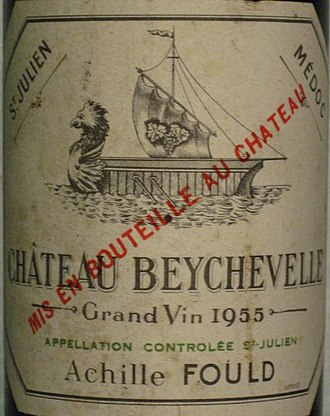 Château Beychevelle - Detail of a Château Beychevelle 1955 label