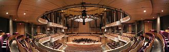 Chan Centre for the Performing Arts - Multiple photos of the interior at The Chan Centre For The Performing Arts stitched together in a panoramic view for publication in the magazine Professional Sound.