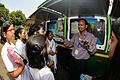 Chandra Skhar Prasad Demonstrates Sounding Rockets to Schoolgirls - MSE Golden Jubilee Celebration - Science City - Kolkata 2015-11-18 5528.JPG