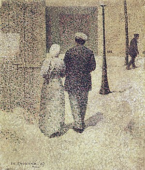 Charles Angrand - Couple in the street, 1887, Musée d'Orsay, canvas, 38.5 x 33.0 cm