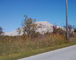 Tar Creek Superfund site - This image, taken in 2010, shows a chat pile near Picher, Okla. These piles contain lead-contaminated dust and are one of the reasons the area was designated a Superfund site.
