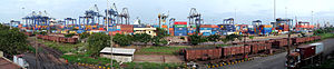 View of Chennai Port from Royapuram bridge.