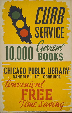 Poster for bookmobile service in Chicago