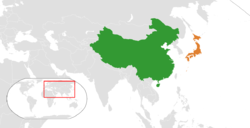Map indicating locations of China and Japan