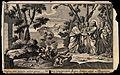 Christ heals two possessed men; in the background swine leap Wellcome V0034904.jpg