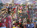 Christmas items in charity shop window, Blacon.JPG
