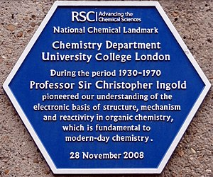Christopher Kelk Ingold - RSC commemorative plaque at University College.
