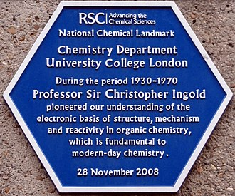 Christopher Kelk Ingold - RSC commemorative plaque at University College.