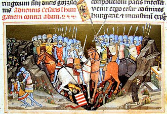 Battle of Ménfő - Battle of Ménfő. In the corner of the picture is a depiction of the killing of Samuel Aba (Chronicon Pictum)