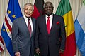 Chuck Hagel hosts an honor cordon to welcome Sierra Leone President Bai Koroma, Senegal President Macky Sall, Malawi President Joyce Banda and Cape Verde Prime Minister Jose Maria Neves to the Pentagon.jpg