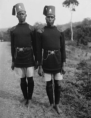 Military history of Uganda - Two soldiers on Jinja Road, 1936