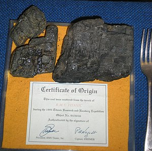 Certificate of origin - Certificate of Origin: This coal was recovered from the wreck of R.M.S. Titanic during the 1994 Titanic Research and Recovery Expedition
