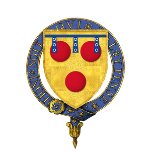 Hugh Courtenay (died 1348) - Arms of Sir Hugh de Courtenay (d. circa 1348), KG: Or, three torteaux gules a label of three points azure each point charged with  three annulets argent