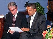 Senate bill sponsors Tom Coburn (R-OK) and Obama discuss the  Coburn-Obama Transparency Act.