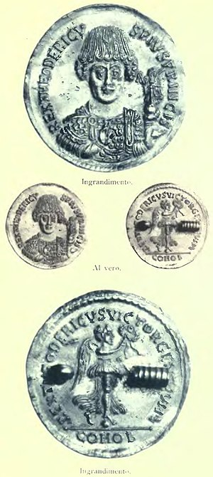 Coin of Theodoric the Great Rivista italiana di numismatica 1895 (page 283 crop).jpg