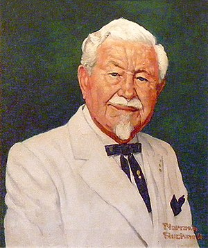 Colonel Sanders - Portrait of Sanders, in his iconic attire, painted by Norman Rockwell in 1973.