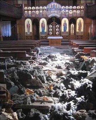 Ukrainian Catholic Eparchy of the Holy Family of London - Collapsed roof of the Ukrainian Catholic Cathedral of the Holy Family in Exile, London