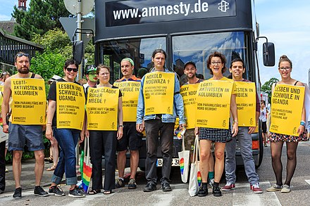 Supporters of Amnesty International at Cologne Pride Parade 2014 Cologne Germany Cologne-Gay-Pride-2014 Parade-12.jpg