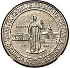 Obverse of the Columbia, South Carolina, Sesquicentennial half dollar
