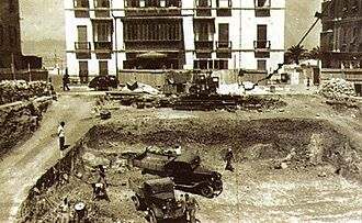 John Mackintosh Square - The construction of an air-raid shelter beneath John Mackintosh Square (then known as Commercial Square) in 1939 (looking west).