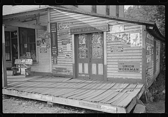 A commissary at the Scotts Run coal mining camp, 1938, near Morgantown, West Virginia Commissary-scotts-run-wv.jpg