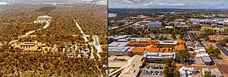 Joondalup - Comparison of Joondalup in 1984 to 2018. Former Wanneroo hospital in the foreground (now Joondalup Health Campus). Grand Blvd to the right.