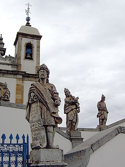 The prophet Jeremiah (on the foreground) sculpted by Aleijadinho at the sanctuary of Bom Jesus of Matosinhos at Congonhas, Minas Gerais, Brazil.
