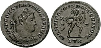 German and Sarmatian campaigns of Constantine - IMP CONSTANTINVS P F AVG, laureated head looking right with armoured bust;