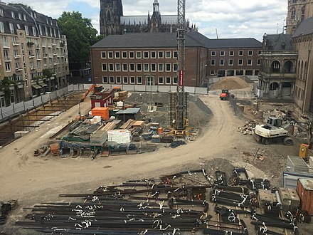 Construction site and equipment prepared for start of work in Cologne, Germany (2017) Construction site in Cologne, Germany (2017).jpg