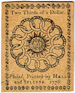 Continental Currency two-third dollar banknote reverse (February 17, 1776).jpg