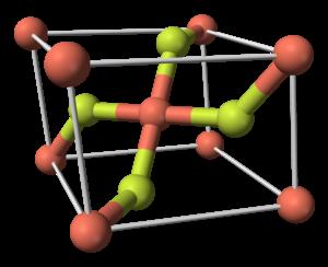 Copper(II) fluoride - Image: Copper(II) fluoride unit cell 3D balls