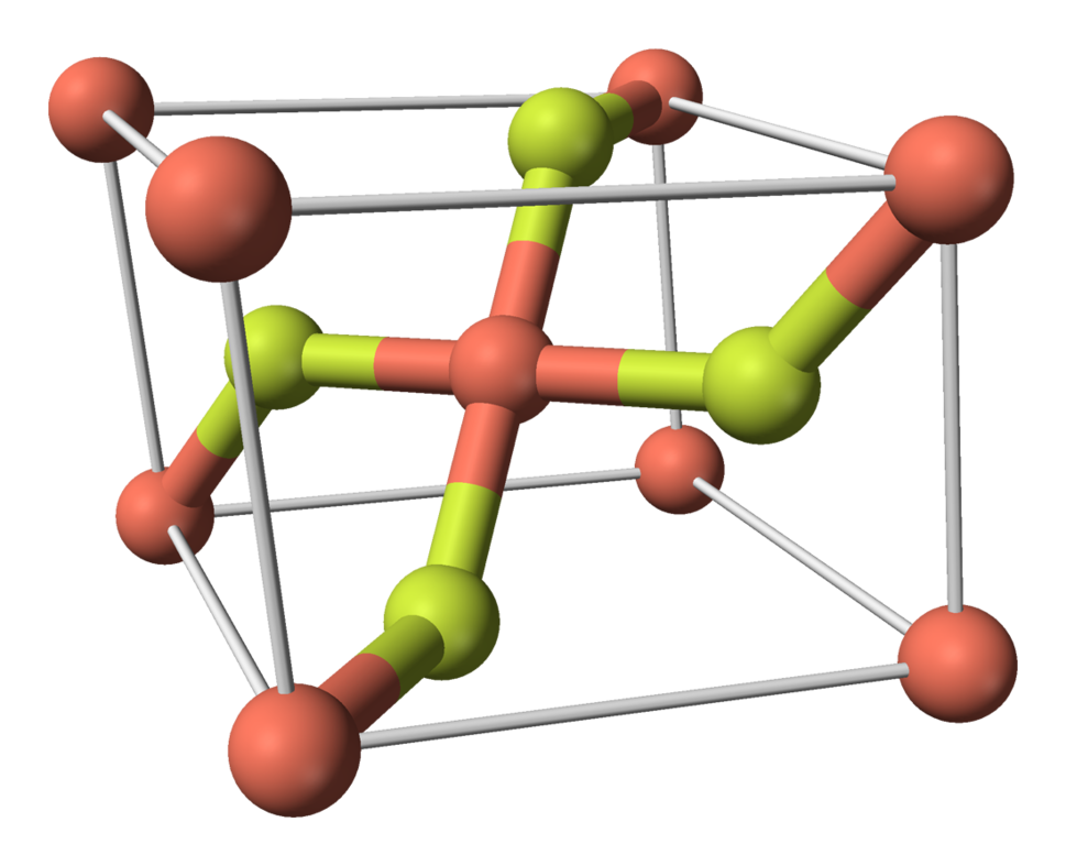 Ball-and-stick model of the unit cell of copper(II) fluoride