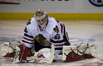 Corey Crawford - Corey Crawford warming up against the St. Louis Blues