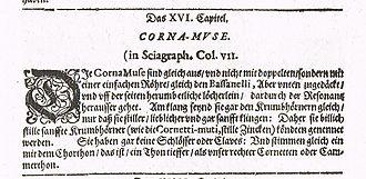 Cornamuse - Description of the Cornamuse, a renaissance instrument, by Michael Praetorius