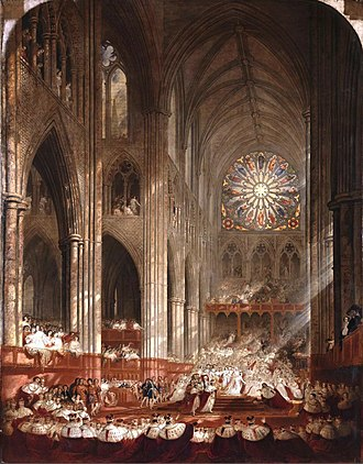 Coronation of Queen Victoria - Coronation of Queen Victoria, by John Martin, depicting the Queen advancing to the edge of the platform to meet Lord Rolle (1839)