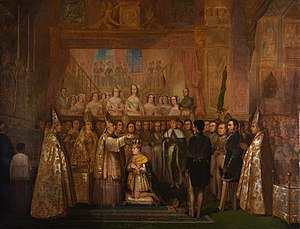 A painting depiciting a kneeling man being crowned by a mitered bishop, and surrounded by clerics and uniformed courtiers with a crowd of onlookers in the background