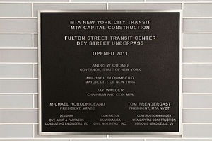 Dey Street Passageway - A plaque in the passageway marks the opening date of a part of the underpass