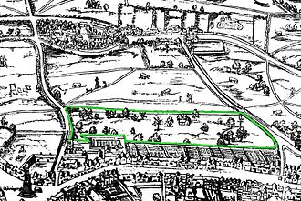 "Covent Garden - Covent Garden on the ""Woodcut"" map of the 1560s, with surrounding wall marked in green"