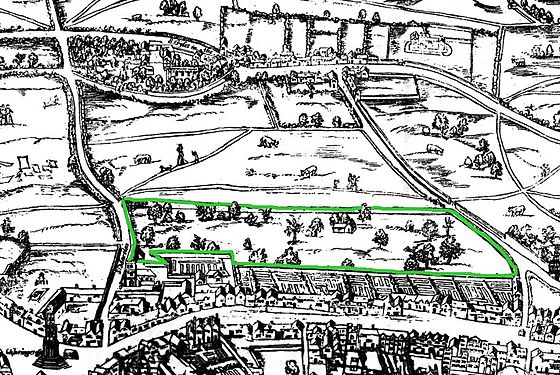 "Covent Garden on the ""Woodcut"" map of the 1560s, with surrounding wall marked in green Covent Garden from the Ralph Agas 1572 map of London - marked.jpg"