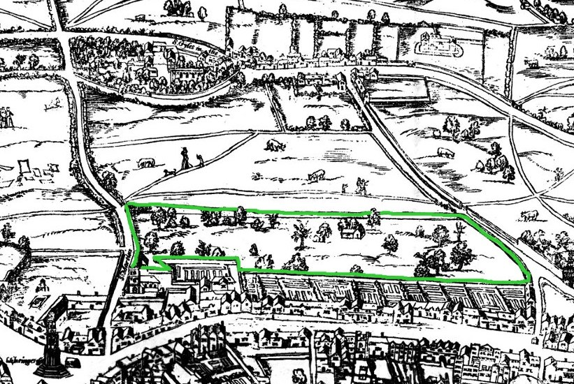 Covent Garden from the Ralph Agas 1572 map of London - marked